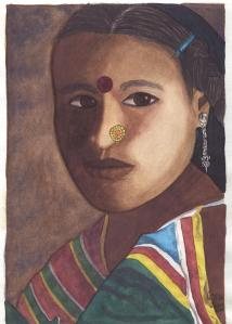 Mujer Nepalesa (acuarela)